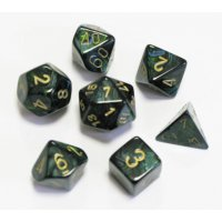 SET DE 7 DES - SCARAB - JADE/OR